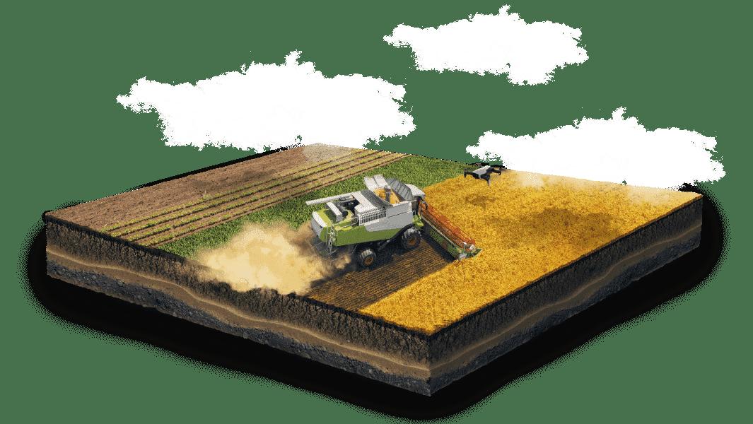 campos agrícolas bajo las nubes